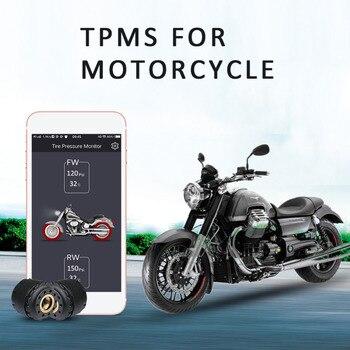 Nuovo TP200 Del Motociclo di Bluetooth Monitoraggio Della Pressione Dei Pneumatici TPMS Sistema di Rilevamento Del Telefono Mobile APP 2 Sensori Esterni