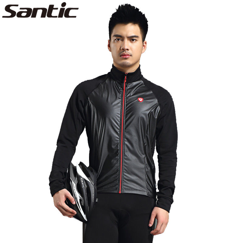 SANTIC Running Fleece Breathable Jackets Cycling Fit Long Jersey Winter Thermal Jacket MTB Bicycle Jersey Windproof Men Clothing santic winter men cycling jersey with hooded fleece blue warm cycling clothing thermal mtb windproof cycling wear mc01054