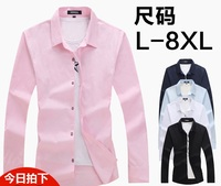 Fall Heavy Man Code Loose Pure Color Long Sleeve Shirts Fertilizer Increased Business Professional Attire Fat