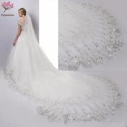 Casamento accessoire 4 metros véu do casamento longo branco laço do casamento lantejoulas véus de noiva véus de noiva com pente WAS10064
