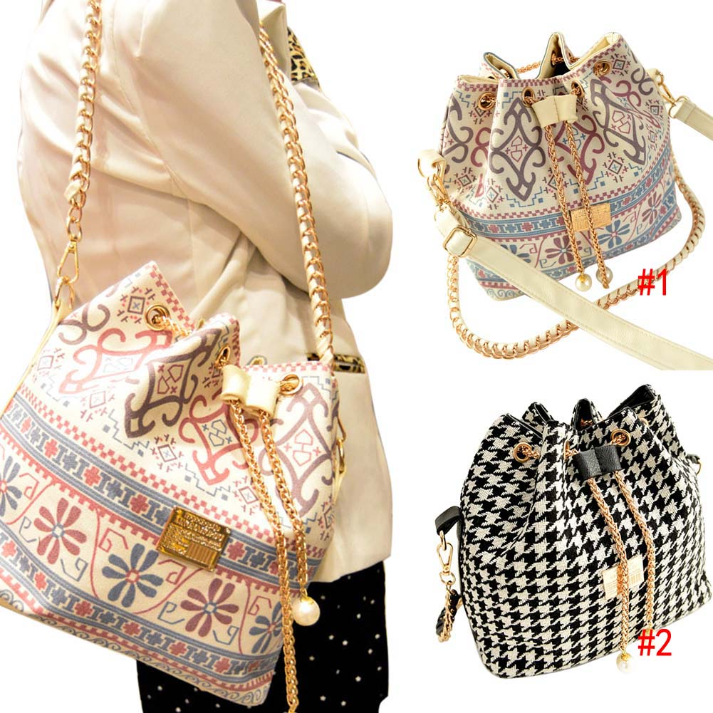Fashion Women Retro Handbag PU Leather Fashion One Shoulder Cross-body Messenger Bag Vintage Tote Bucket BS88