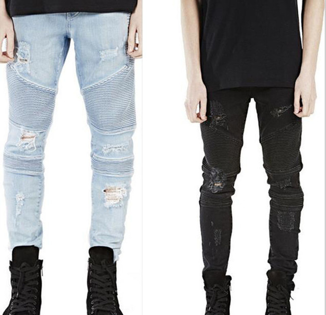 7a2e62562f96  HU GH New Black Ripped Jeans Men With Holes Denim Super Skinny Famous  Designer Brand