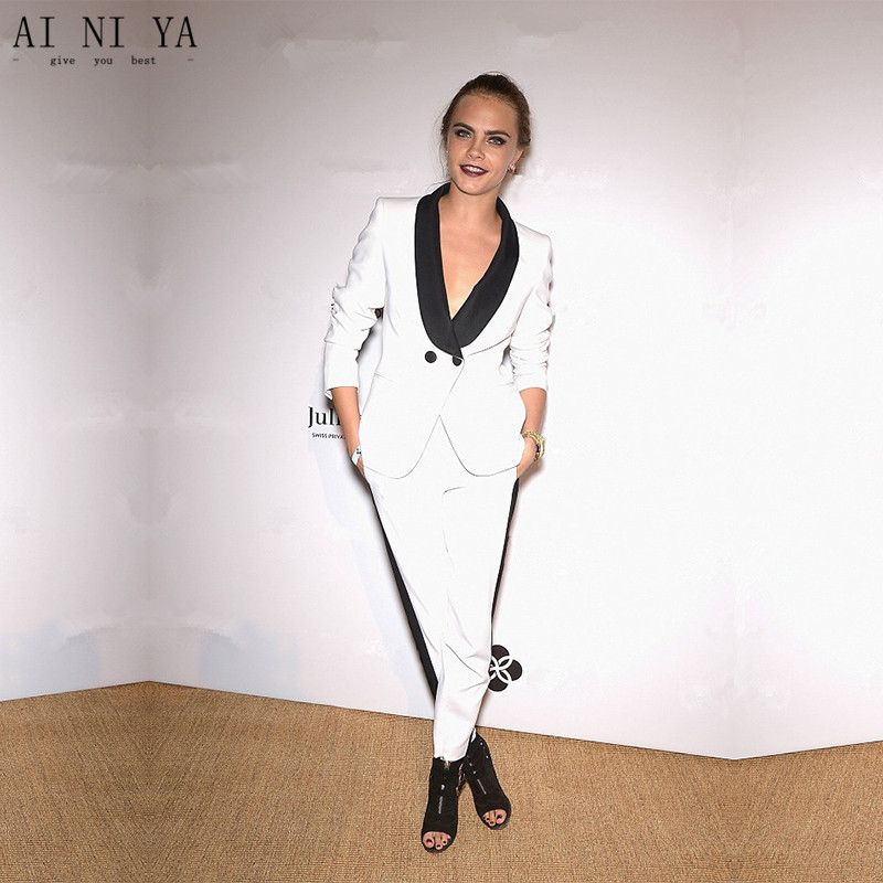 Custom Womens Business Suits White Ladies Elegant Pants Suit Formal OL Female Trouser Suit Black Lapel Long Sleeve 2 Piece Suits