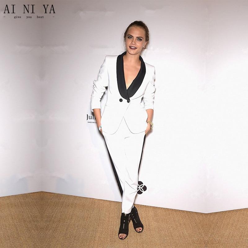 Custom Womens Business Suits White Ladies Elegant Pants Suit Formal OL Female Trouser Suit Black Lapel Long Sleeve 2 Piece Suits