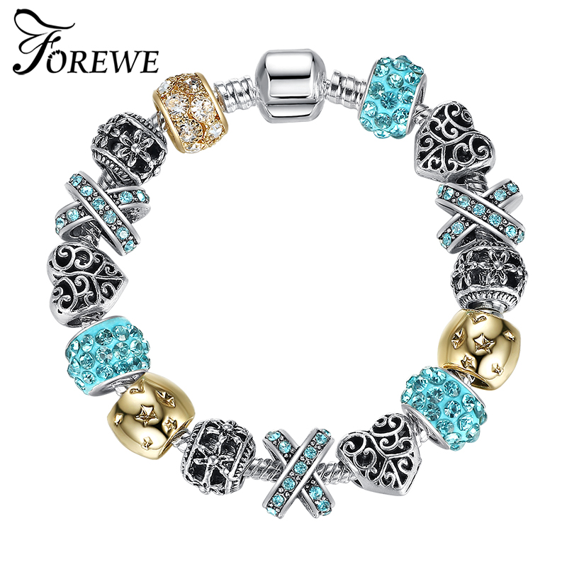 FOREWE Romantic Silver Bead Charm Bracelet For Women With ...