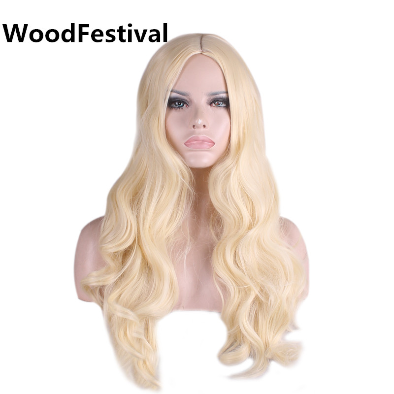 WoodFestival Women Synthetic Wigs Heat Resistant Female Cosplay Wavy Long Blonde Wig
