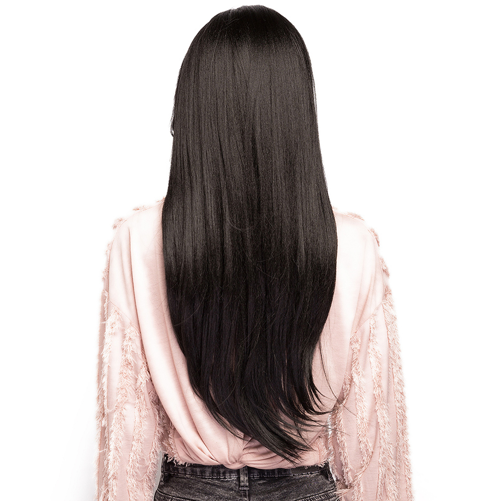 Natural Black 1B# Side Part Synthetic Hair Wigs With Bangs Long Straight Glueless Heat Resistant Fiber Hairpiece For Black Women