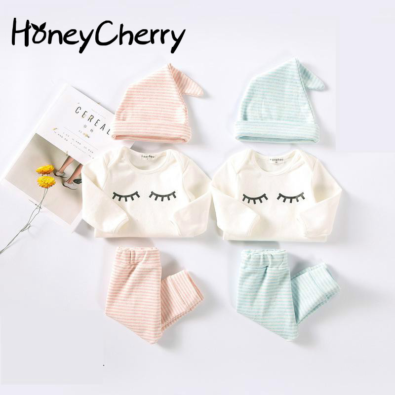New Baby Romper And Cotton Eyelash Three Piece Newborn Baby Girl Clothes Baby Boy Clothing Set Girls Clothes 10pcs baby products boy and girls full moon fashion sets spring and autumn baby best gift newborn baby clothes unisex set cotton