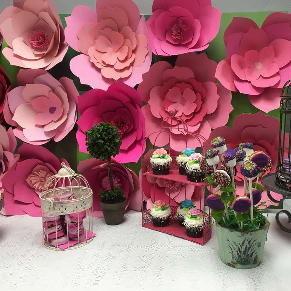22pcs Pink Set Giant Paper Flowers For Party Wedding Decor For Photo