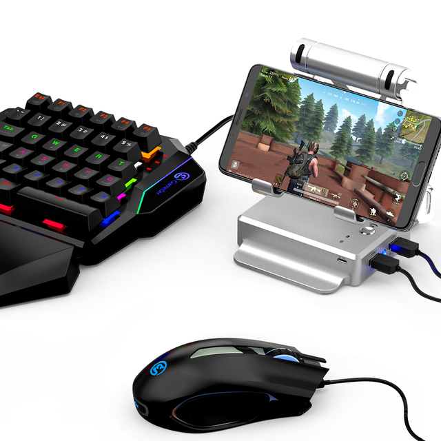 GameSir GK100 For Pubg Game Gamepad One-hand Mechanical Blue Switches Gaming Keypad with GameSir X1 BattleDock For FPS Games
