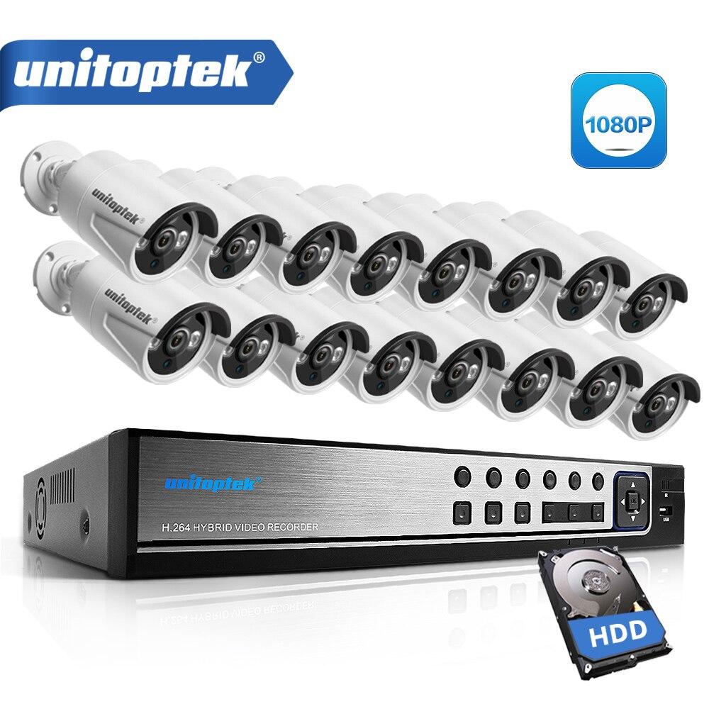 16CH AHD DVR CCTV Système de Caméra Kit 1080 p 16CH AHD DVR Enregistreur + IR 20 m Bullet Extérieure 2MP de sécurité AHD Caméra Système Kit