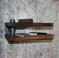 American Country Wrought Iron Furniture Industry Pipe Double Deck Retro Creative Hanging On The Wall Shelves