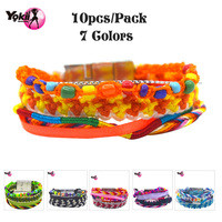 YOKII 10pss Pack Fashion 7 Colors Magnetic Buckle Hipanim Bracelet Multilayer Bohemia Beach Style Kids Bracelets