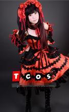 Новый Популярный Косплей Cos Tokisaki Kurumi из аниме свидание прямая трансляция полный комплект на Хэллоуин 4 в 1 (платья + головные уборы + украшения для шеи + бант kn