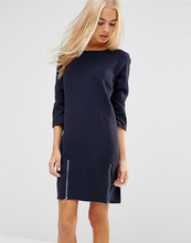 New Fashion Brief Autumn font b Dress b font for Women Zippers Straight Three Quarter Sleeve