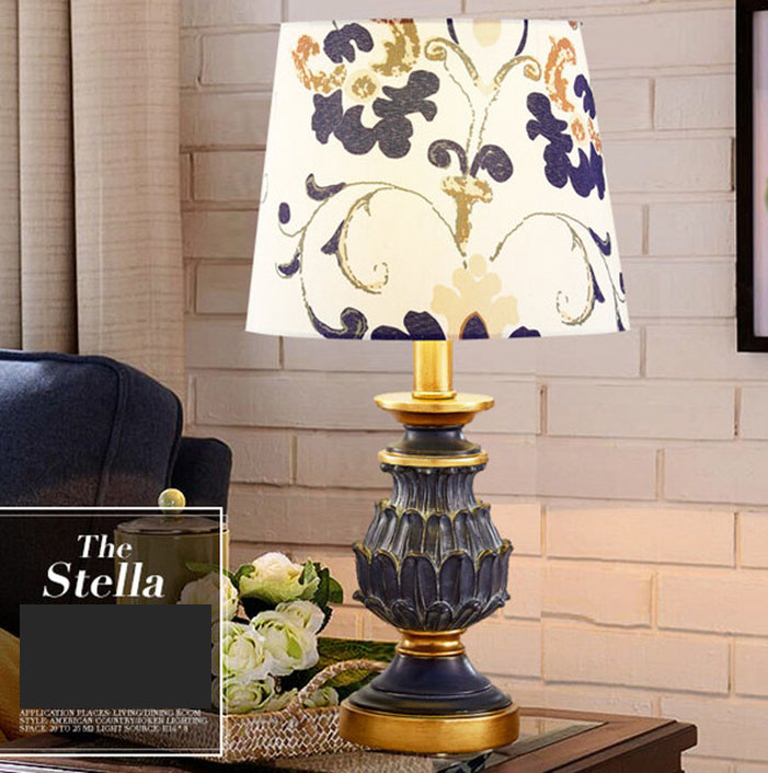 Retro Green Resin Fabric Lamp Shades Big Modern Table Lamps For Living Room Bedroom Bedside Table Lamps Antique Desk Lights retro crystal table lamp shade fabric modern office living room bedroom bedside table lights lighting brused antique brass iron