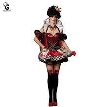 Poker Queen of Hearts Costume Carnival Fancy Party Dress Halloween Costumes for Women Outfit Alice In Wonderland Costume цена