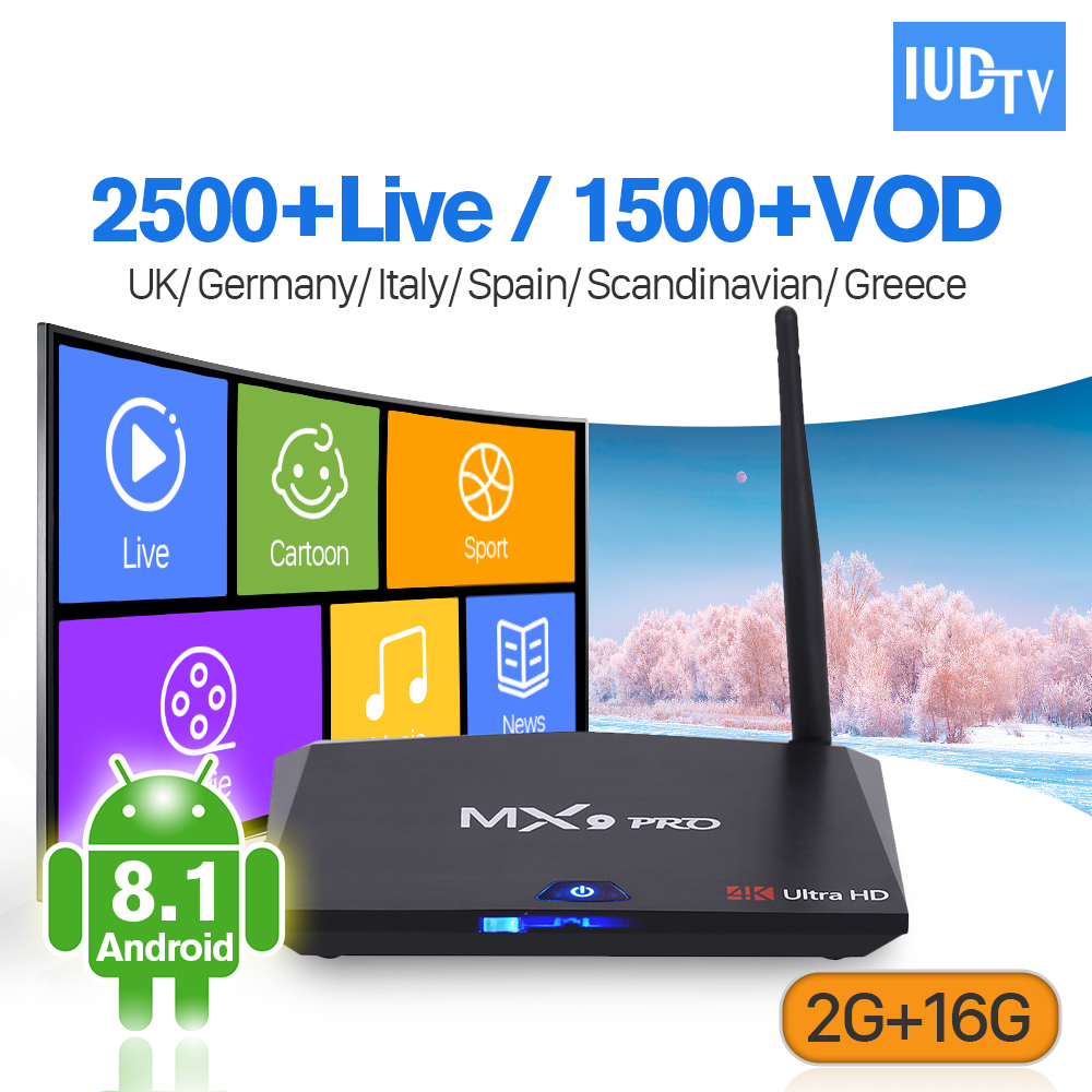 Greek Italia IP TV 1 Year Subscription Box MX9 Pro 2G 16G Android 8.1 Support BT Dual-Band WiFi IP TV Box Europe UK IUDTV цена и фото