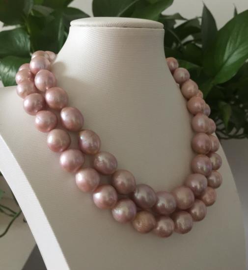 Simples brins 14-15mm d'eau douce baroque lavande perle collier 38 925 argent