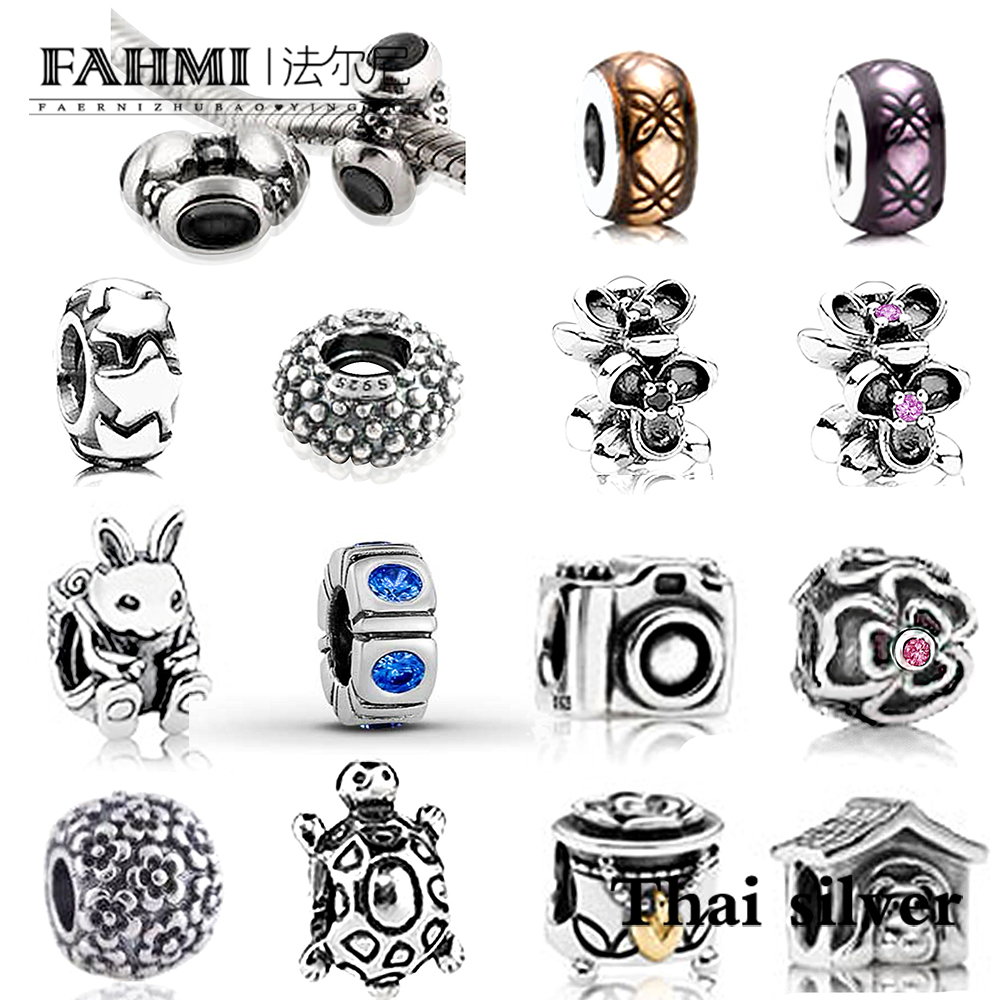 Fahmi Thai Silver Retro Camera Daisy Flower Christmas Stocking Dog House Turtle Rabbit Spacer Beaded Charm Collection Limited Dependable Performance