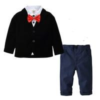 Autumn Kids Suits Blazers 2019 New Baby Boys Shirt Overalls Coat Tie Boys Suit for Wedding Formal Wear Cotton Children Clothing