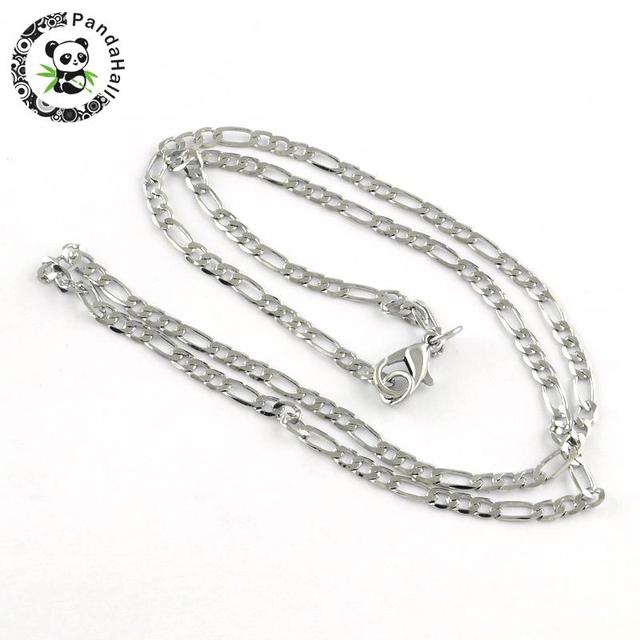 """316 Stainless Steel Figaro Chain Necklaces, with Lobster Clasps, Stainless Steel Color, 18.9"""" 10pcs/lot"""