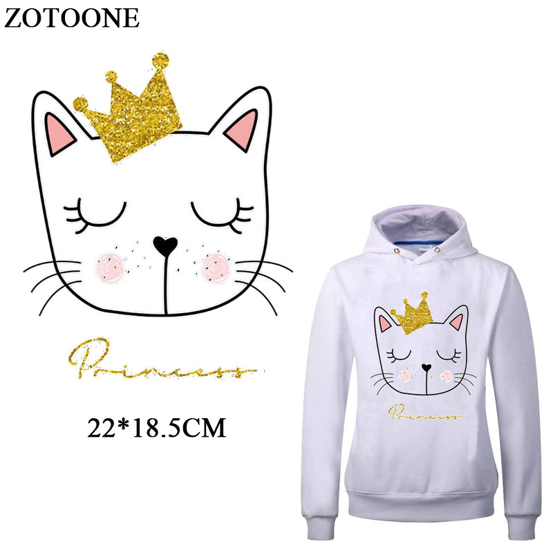 ZOTOONE Iron On Lovely Cat Patches For Girl Kids Clothes T-shirt DIY Heat Transfers Vinyl Applique A-Level Washable Animal Patch