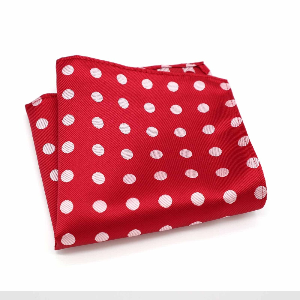 F056 Classic Men's Handkerchief Vintage Silk Jacquard Woven Hanky Red Polka Dot Pocket Square 25*25cm Wedding Party Chest Towel