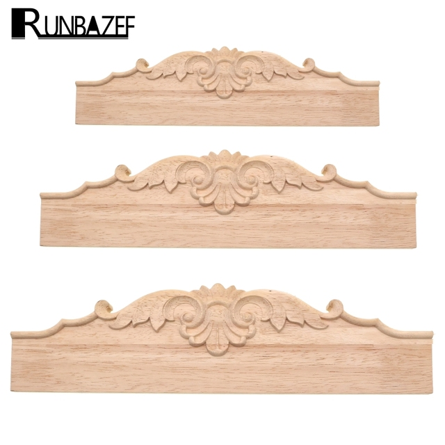 RUNBAZEF Woodcarving Applique Furniture Fittings TV Bathroom Cabinet Tooth  Board Solid Wood Baffle Carved Skirt Home