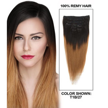 T1b/27 T1b/30 Ombre Human Hair Clip In Extensions Peruvian Virgin Human Hair Two Tone Clip In Human Hair Extensions Clip Ins