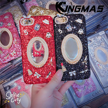 Mobile phone case with drill mirror for iPhone 6 6S 7 8 plus phone case for iPhone X XS XR MAX Jewelled back cover phone case