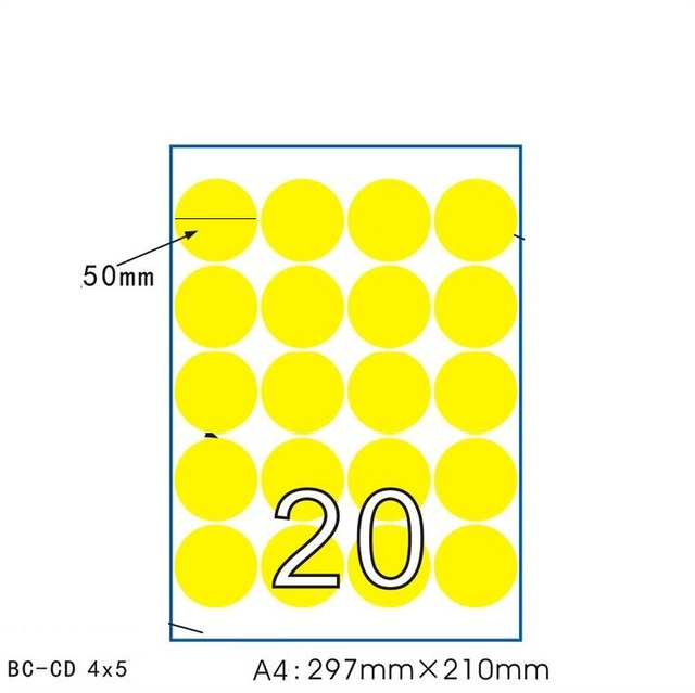 50sheets lot a4 size yellow paper adhesive sticker self adhesive a4 round label paper
