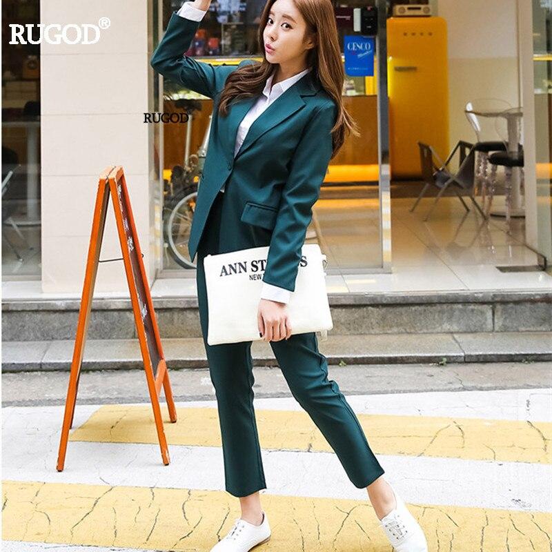 Rugod Women Blazer +Trousers Suit Autumn Casual Elegant Ladies Trouser Suits Striped Formal Pant Suits Women business Suits 1