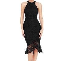 Lato Lace Dress Kobiety Moda Biuro Fishtail Vintage Suknie black red Halter Neck Bez Rękawów Kobiety Odzież W Stylu Vintage Sukienka