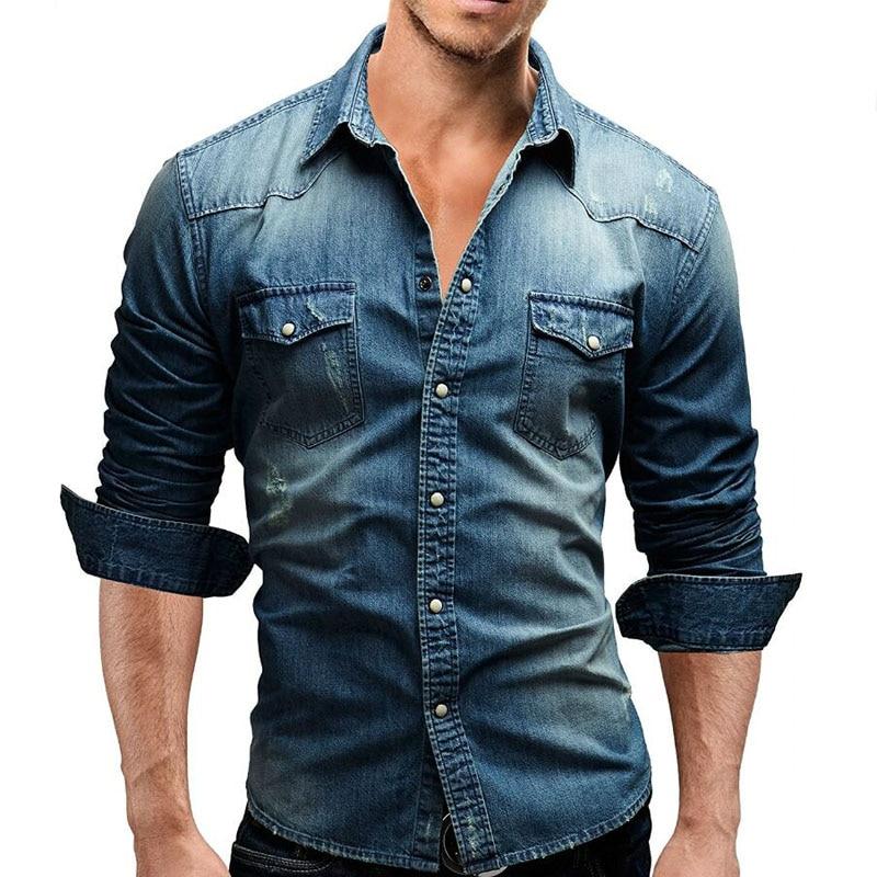 2018 Fashion Brand Men Shirt Male Long Sleeve Lapel Shirts High Quality Casual Solid Color Denim Slim Fit Mens Shirts M-XXXL