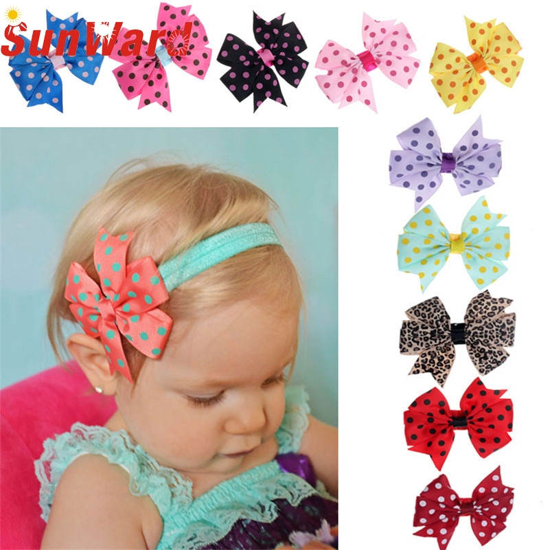 Stylish 2015 10Pcs/lot Babys Headband Hairband Elastic Cloth Wave Point Bowknot Photography for girls Children