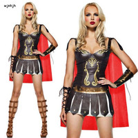 Ladies Leather Roman Greek Gladiator Warrior Princess Spartan Costume Women Sexy Party Cosplay Halloween set dress+cloak+sleeve