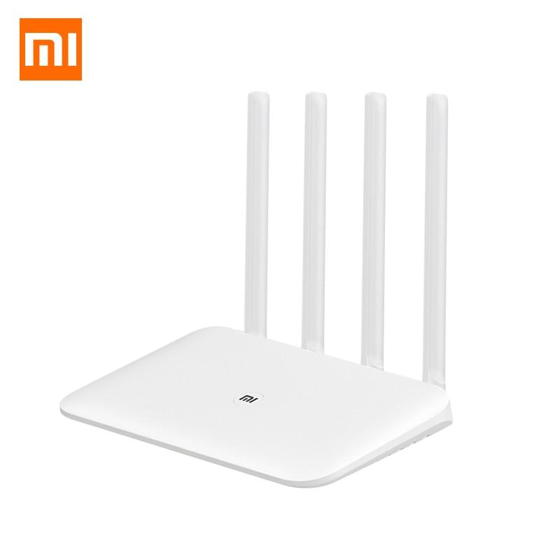 Original Xiao mi mi Router Wi-fi 4 WiFi Repetidor 2.4G GHz 128MB DDR3-1200 5 Dual Band Dual Core 880MHz APP Controle do Roteador Sem Fio