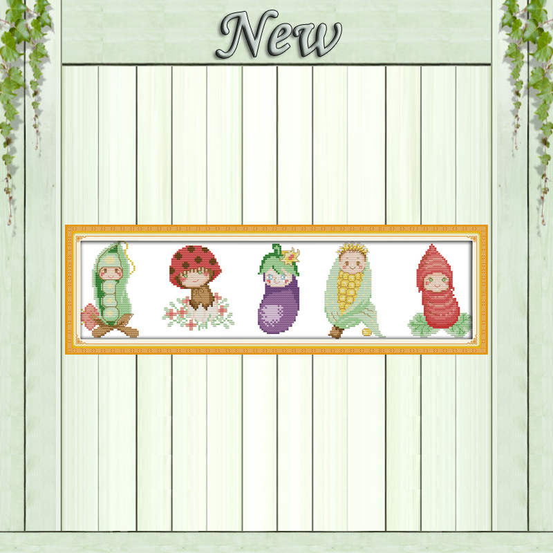 Vegetable babies (view picture)Decor painting Counted Print on canvas Needlework DMC 11CT 14CT Cross Stitch Sets embroidery kits image