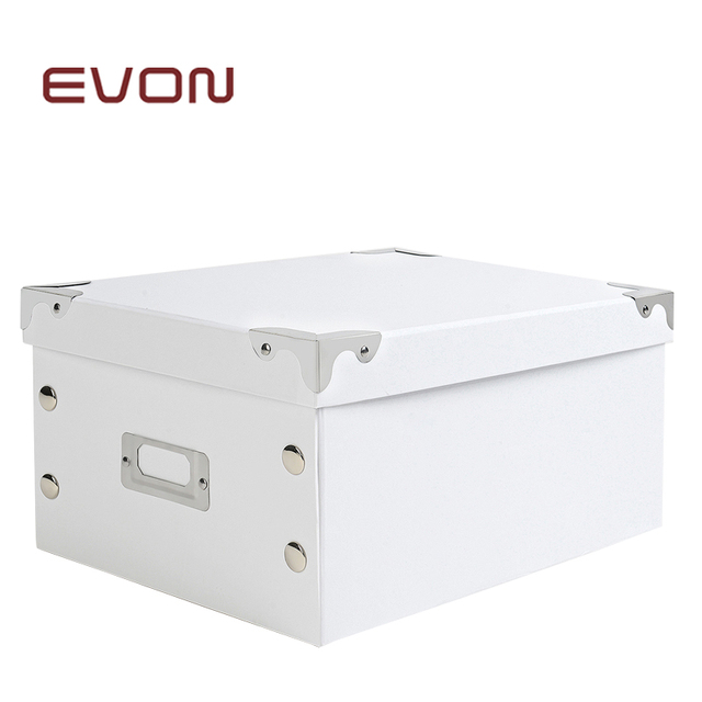 Lidded Foldable With Tag Slot White Office Storage Box Organizer 32 23 15cm