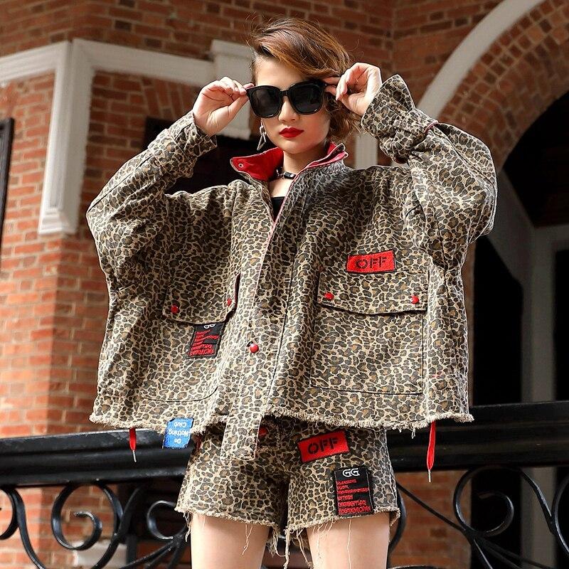 Fashion Leopard Print Denim Set Women Spring Long Sleeve Jacket + Shorts Sets 2019 New Streetwear Two Piece Sets Womens Suit