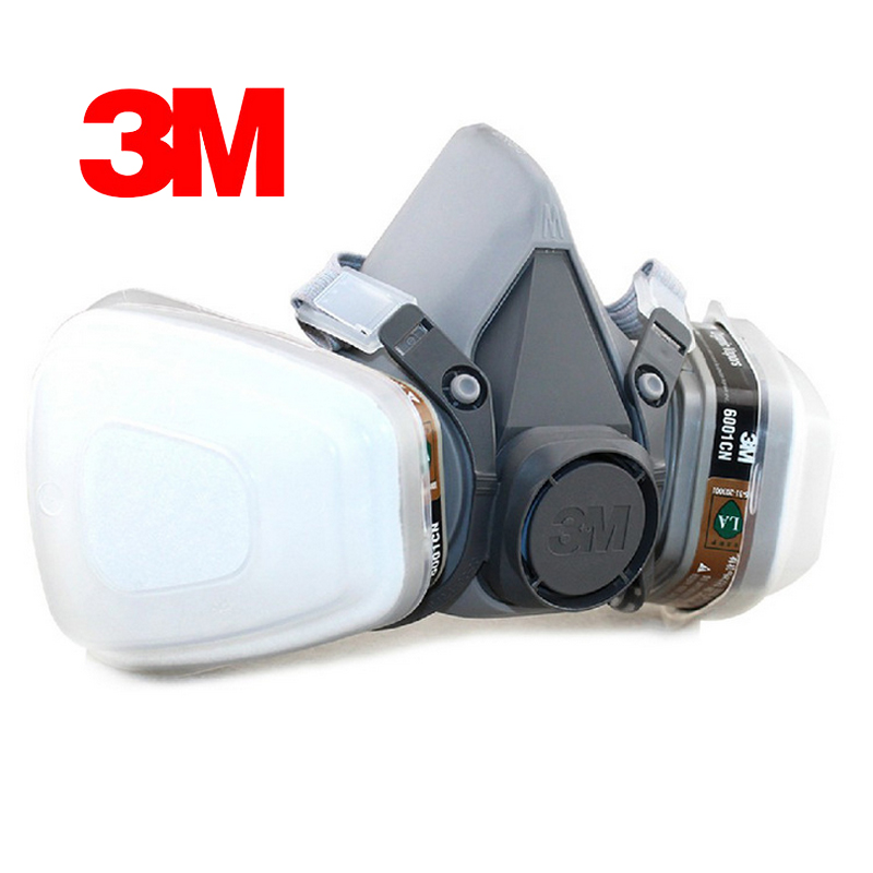 3M 6200 Respirator Half-face Gas Mask Painted Activated Carbon Mask Against Organic Vapor Gas Cartridges 7 Items for 1 Set skull style half face mask old silvery