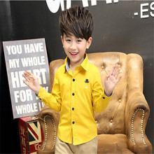 High Quality Boys Shirts Cotton Broadcloth Full Sleeve Solid Boys Kids Shirts Spring Autumn Casual Childrens Tops Clothing ht026