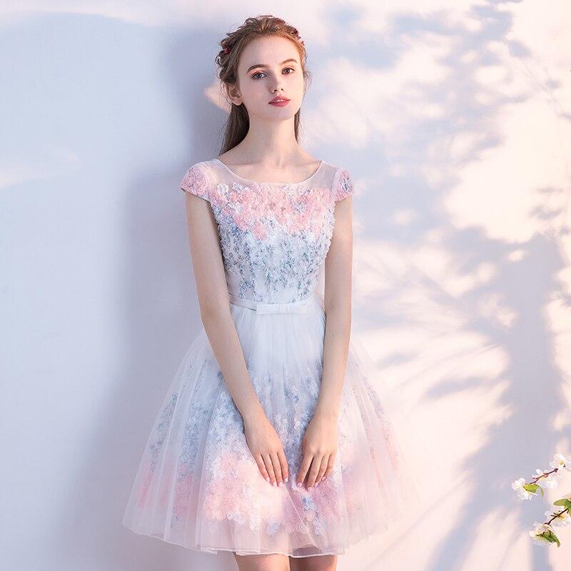 Elegant Tulle Lace Appliques A-Line Bridesmaid Dress 4
