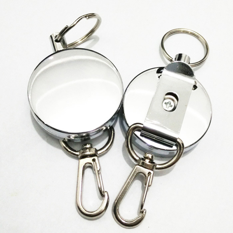 Retractable Pull Key Ring ID Badge Lanyard Name Tag Card Holder Office Recoil Reel Belt Clip Metal Housing Covers