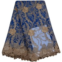 Blue African Lace Fabric 2017 French Net Lace New Designs Fabric 5 Yard High Quality African