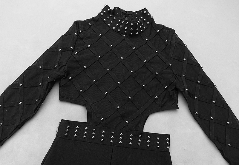New Designer Sext Perspective Bead Party Jumpsuits Elegant Long Sleeve Striped Cross Lady Bosysuit Long Skinny Bandage Jumpsuit - 5