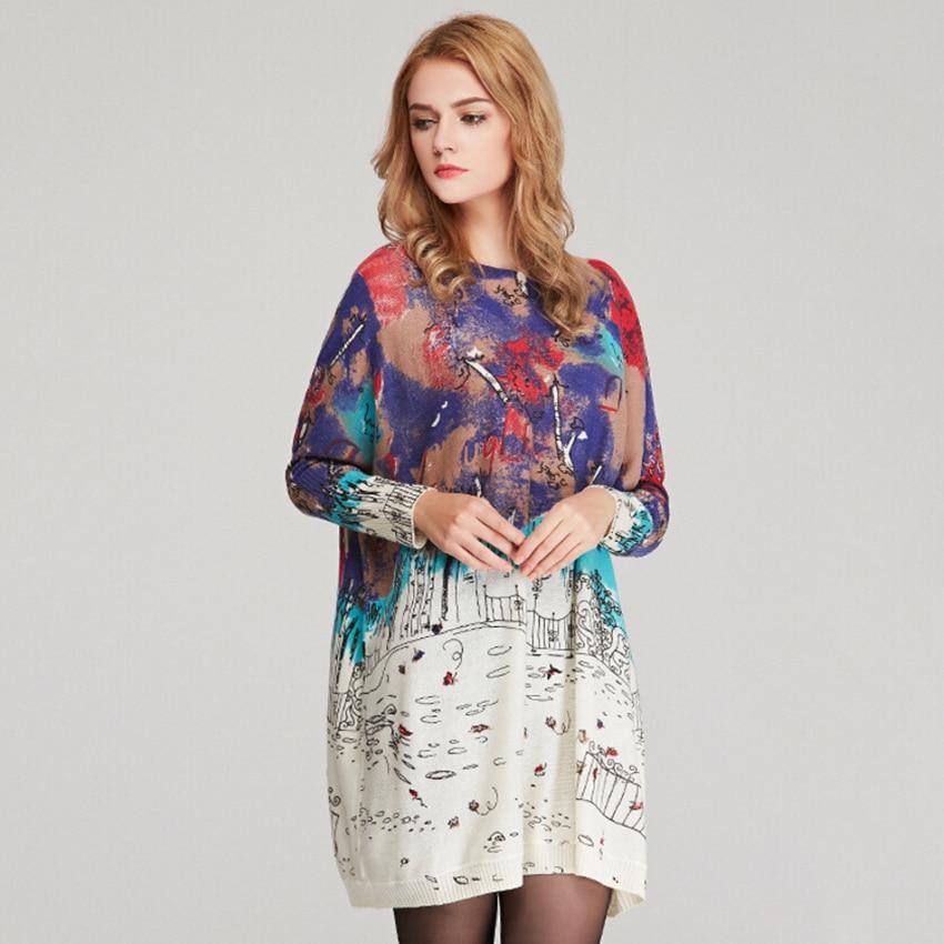 Dámské vlněné šaty Módní Podzimní zimní potisk Kintwear Velké svetry s dlouhým rukávem O-Neck Svetry Šaty Volné Svetry 6131