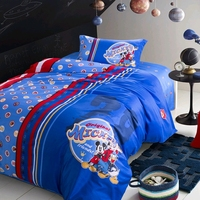 Disney Royal Blue Red Striped Mickey Mouse Duvet Comforter Covers Pillowcases for Children Bedroom Decor Twin Single Queen Size
