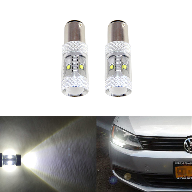 2PCs CANbus White Led Bulb Fit For Volkswagen VW Jetta MK6 Daytime Running Light Driving DRL Replacement Bulbs Car-Styling free shipping super bright for vw jetta daytime lights led drl day fog lamp light for sagitar jetta mk6 11 12 1 1 replacement page 9